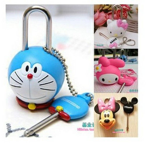 Cute Lock & Key,Doraemon Hello kitty Stitch Mario Spongebob Rabbit Cartoon Mini Lock toy(China (Mainland))