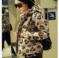 Down coat female short design 2013 leopard print slim winter outerwear