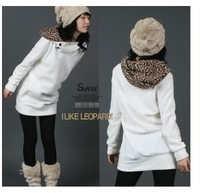 Womens Autumn Sweatshirts Hoodies Leopard Top Outerwear Parka Coats White/ Black Four Size free shipping