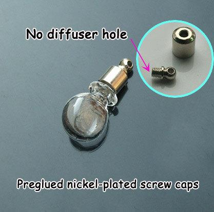 5 pcs 5MM Crystal Ball (tampas de rosca Preglued níquel-banhado), Frasco de petróleo essencial, desejando jóias garrafa, Aroma pingente frasco(China (Mainland))