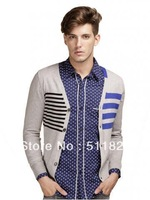 Fashion asymmetrical striped V-neck sweater cardigan sweater sweaters free shipping M10WFG005