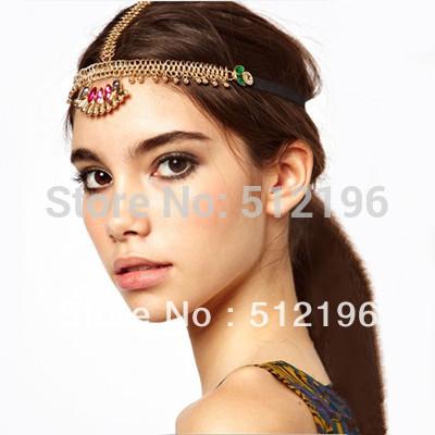 AHO172, 10pcs/lot,Three Strands Gem Head Piece Chunky Head Chain Jewel Crystal Floral Crown Headband(China (Mainland))