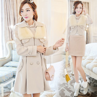 2013 autumn and winter sweet 3 detachable twinset wool small vest female slim wool coat wool