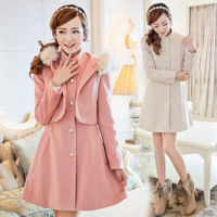 2013 clothing 3 twinset vest ultralarge with a hood wool gentlewomen wool coat outerwear