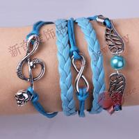 LM-L048 Infinity bangle,handmade bracelet,Lovely music signal wings pearl  charm bracelets,gift for friend