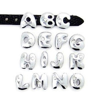 """8MM Fat one Rhinestone Slide Letters """"A-M Can Choose Each Letters""""  (20 pieces/lot)  Fit DIY Wristband & Bracelet  Free Shipping"""