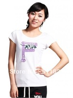 Cotton short-sleeved T-shirt embroidered ladies free shipping W10MST024