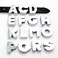 """8MM NO Rhinestone Slide Letters """"A-M Can Choose Each Letters """"  (20 pieces/lot)  Fit DIY Wristband & Bracelet  Free Shipping"""