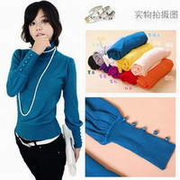 2014 New Arrivals Women's Fashion Casual Slim Turtleneck  Soft Cotton Sweater 9 Colors Basic Pullovers Sweaters,M-M1390