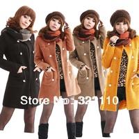 2014 New Women's Cloark Girls Jackets Fashion Wool Coats Long style Outerwear Slim Overcoat Women Winter clothing
