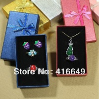 Free shipping ! Cardboard Ring Boxes, Cube with ribbon bowknot ornament, 5x8x2.5cm, 48PCs/Bag assorted colour