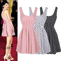 3857# 2014 Spring & Summer New European Style Cute Sexy Women's Dresses Dot Backless Dress Star Fan Chiffon Sundress Wholesale