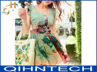 2014 high-end custom Ink painting lotus leaf sleeve of tall waist show thin chiffon dress free shipping