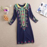 Free Shipping One-piece Dress 2014 New Arrival Fashion Vintage Print O-neck Slim One-piece Dress