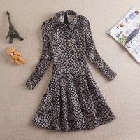 Free Shipping 2014 Slim Turn-down Collar Lace Elegant Long-sleeve Dress Expansion Bottom One-piece Dress Female