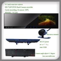 4.3inch rearview mirror Dual camera front rear camera car dvr G-sensor GPS Locator