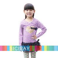 2014 Free Shipping New Girls Tshirt Dress Baby Girls Spring Autumn Striped Dress,Lace,Leopard Love  K4310
