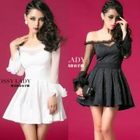 Dress evening dress female strapless long-sleeve ktv princess one-piece dress