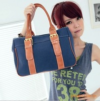 Han edition, the new canvas + leather handbag, belt buckle stripe shoulder bag free shipping