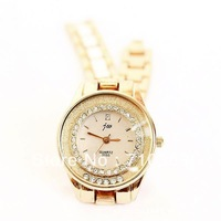 New 2013 Wholesale 20PCS Luxury women Quartz wrist watches with Rhinestone, Stainless steel rose gold inlay free shipping