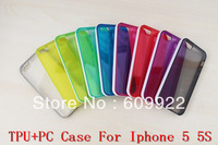 For iphone5 iphone5s 5s Clear Colorful TPU Case Cover With PC Plastic Shell Frame  Free Shipping VIA 50pcs