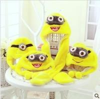 Wholesale 5pc/lot Long &Short  Minion Animal Toy Caps Warm Cartoon Hats+Gloves+Scarves Warm Milk Dad Yellow Man 3 expression