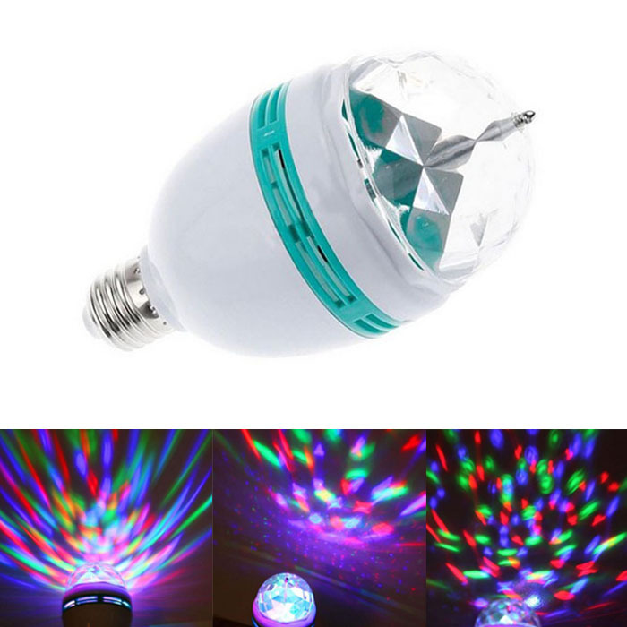 New Fantastic 3W E27 85-260V Full Color RGB LED Rotating Stage Light Lamp Bulb Party Bar KTV FreeShipping & Wholesale Feida(China (Mainland))