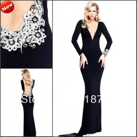 Sexy V-neck Long Sleeves Court Train Black Chiffon Beaded Backless Stunning Prom Long Dresses Party Evening Gown 2013 Fashion