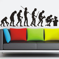 1 set 25*45 Inch Removable PVC Decals Human Evolution Figure Art Wall Decals Home Decorative Wall Stickers