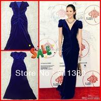 Buy With Gift! 2014 Custom Real Photos Elegant Royal Blue Velvet Body-Hugging V-Neck Short Sleeves Evening Dresses