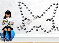 Wholesale 2014 New 3D Wall Stickers Butterfly Home Decor Kids Room Decorations Decals Black Small Size 5.5*5.5cm Black 4696