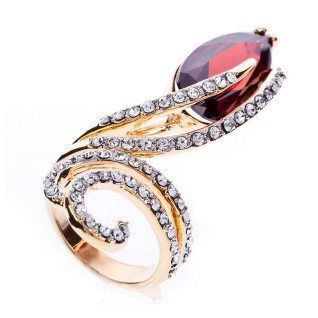 Fashion Refinement Garnet red droplets Ring J1638