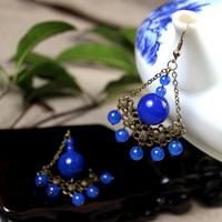 National trend vintage natural blue agate bohemia earrings drop earring