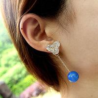 Chinese style natural agate tassel earrings drop earring stud vintage gemstone  jewelry earring