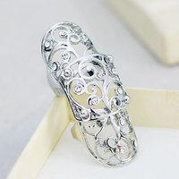 Exquisite Fashion Gold Silver Alloy Rhinestone Flower Plant Shape Women Shield Ring JZ-74845