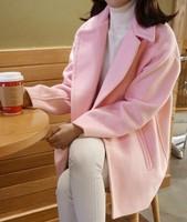 Autumn winter woman pink elegant cocoon coat  woolen outerwear loose wool blends coat oversize coat maxi coat blazer