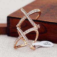Personalized Fashion Alloy Double X Combine Rhinestone Women Open Ring JZ-74840