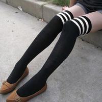 Color block decoration over-the-knee 100% cotton fashion stockings socks knee-high socks