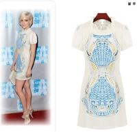 2014 Summer New Arrival European Bandage Brand Print Novelty Dress Women 2 Colors Y/1188