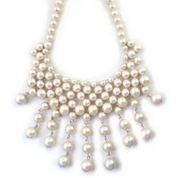 Exaggerated Fashion Shiny Lady Women Pearl Dangle Elegant Party Prom Necklace  99X341