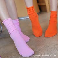 10pcs/lot Autumn and winter piles of socks sock slippers female sock 100% cotton socks roll-up hem long design candy color