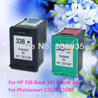 Hot Sale in Europe Market! Ink Cartridge 338&343( C9365E& C9366E)  for HP Photosmart printer,Wholesale Remanufactured cartridge