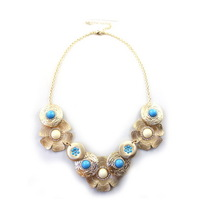 Antique Fashion Retro Lady Shiny Rhinestone Flower Unique Elegant Short Necklace 99X337