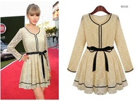 New 2014 summer dress Slim Bottoming Long-Sleeved Lace Dress Casual Women dress Vintage dress vestidos