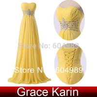 2014 Free Shipping 1pc/lot Grace Karin Charming Long Strapless Chiffon Yellow Sequins Prom Dress CL6002