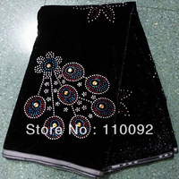 wonderful design black color  Velvet  Lace Fabric, high-grade product Embroidery Velvet Lace for party dress VLF9-8