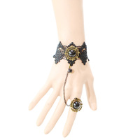 [Minimum Order 10USD]  BR9047 Retro Fashion gothic bead lace bracelet free shipping