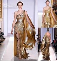 One shoulder Gold Pageant Gown Zuhair Murad Haute Couture Appliques Shine Evening Dresses 9390