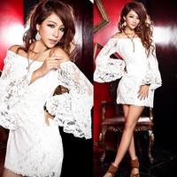 Fashion fashion slit strapless neckline white lace flare sleeve one-piece dress evening dress