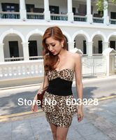 Hot Woman Nightclub Queen White Leopard Wrapped Chest Slim Sexy Dress